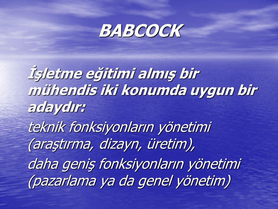 BABCOCK İşletme eğitimi almış bir mühendis iki konumda uygun bir adaydır: teknik fonksiyonların yönetimi (araştırma, dizayn, üretim), daha geniş fonksiyonların yönetimi (pazarlama ya da genel yönetim)