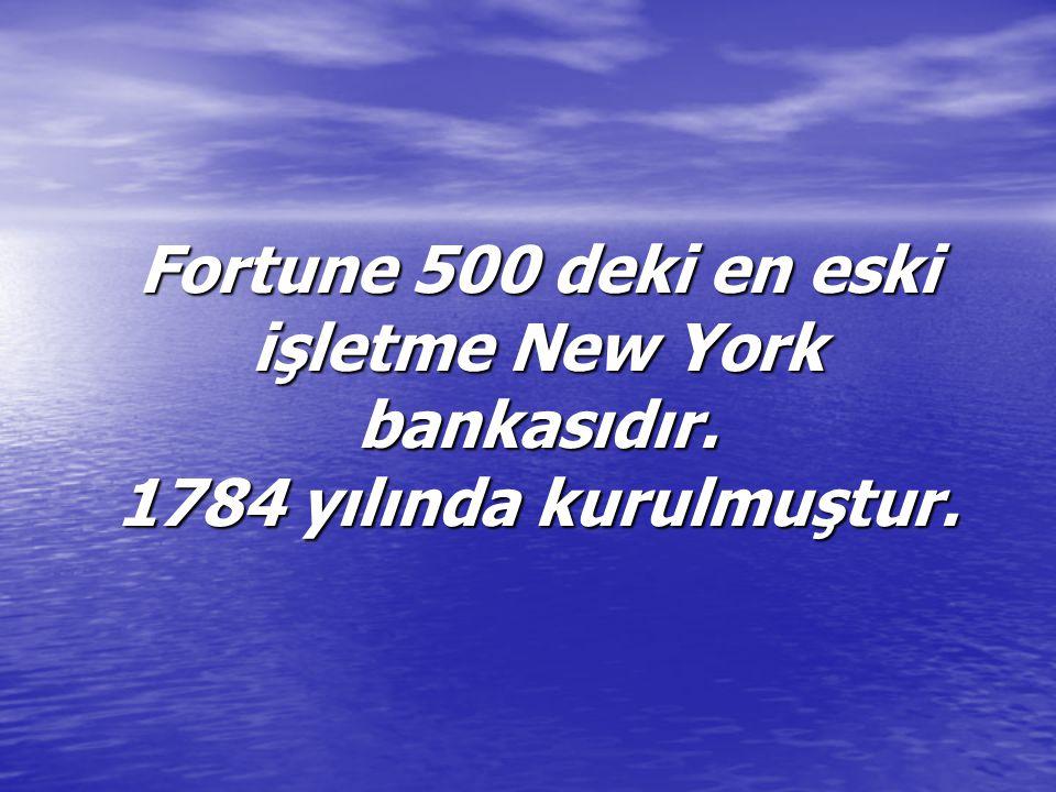 Fortune 500 deki en eski işletme New York bankasıdır. 1784 yılında kurulmuştur.