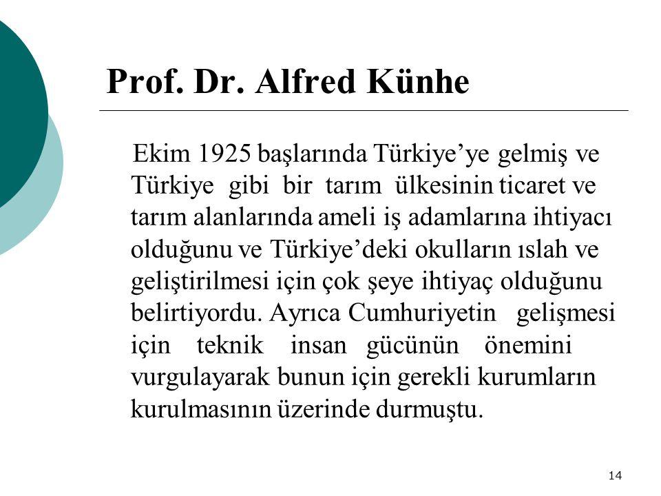14 Prof. Dr. Alfred Künhe Ekim 1925 başlarında Türkiye'ye gelmiş ve Türkiye gibi bir tarım ülkesinin ticaret ve tarım alanlarında ameli iş adamlarına