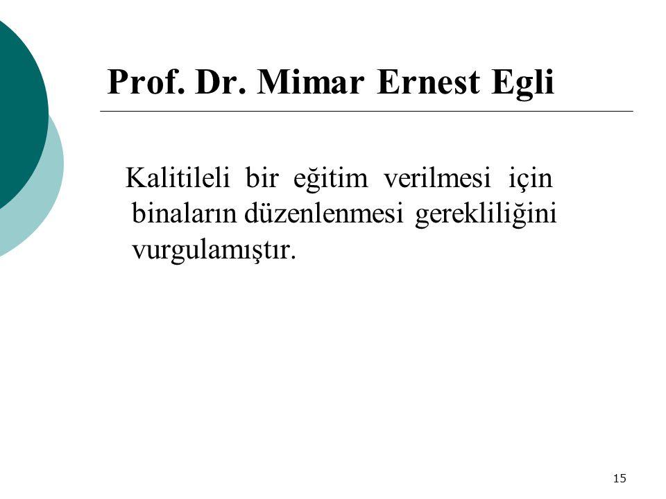 15 Prof. Dr. Mimar Ernest Egli Kalitileli bir eğitim verilmesi için binaların düzenlenmesi gerekliliğini vurgulamıştır.