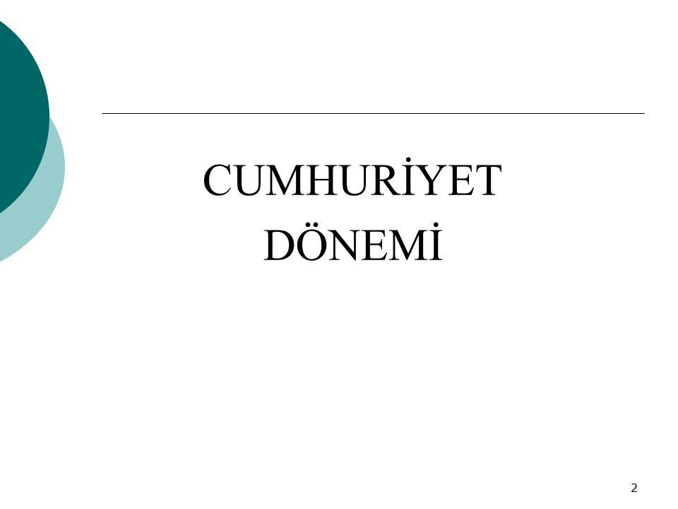 3 Cumhuriyet Döneminde eğitimin başlıca amacı, her düzeydeki okullarda Cumhuriyet rejiminin gerektirdiği ve yeni Türkiye'nin ihtiyaç duyduğu nesiller yetiştirmek olmuştur.