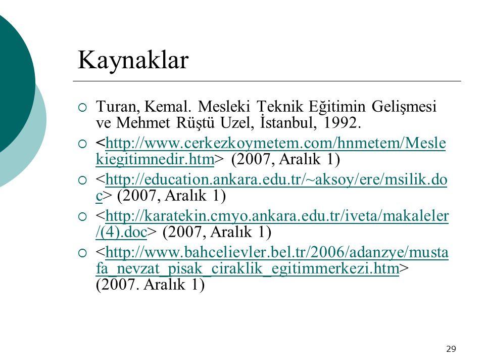 29 Kaynaklar  Turan, Kemal. Mesleki Teknik Eğitimin Gelişmesi ve Mehmet Rüştü Uzel, İstanbul, 1992.  (2007, Aralık 1)http://www.cerkezkoymetem.com/h