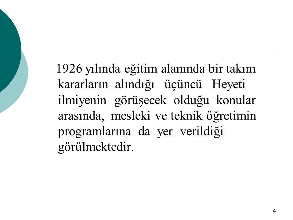 4 1926 yılında eğitim alanında bir takım kararların alındığı üçüncü Heyeti ilmiyenin görüşecek olduğu konular arasında, mesleki ve teknik öğretimin pr