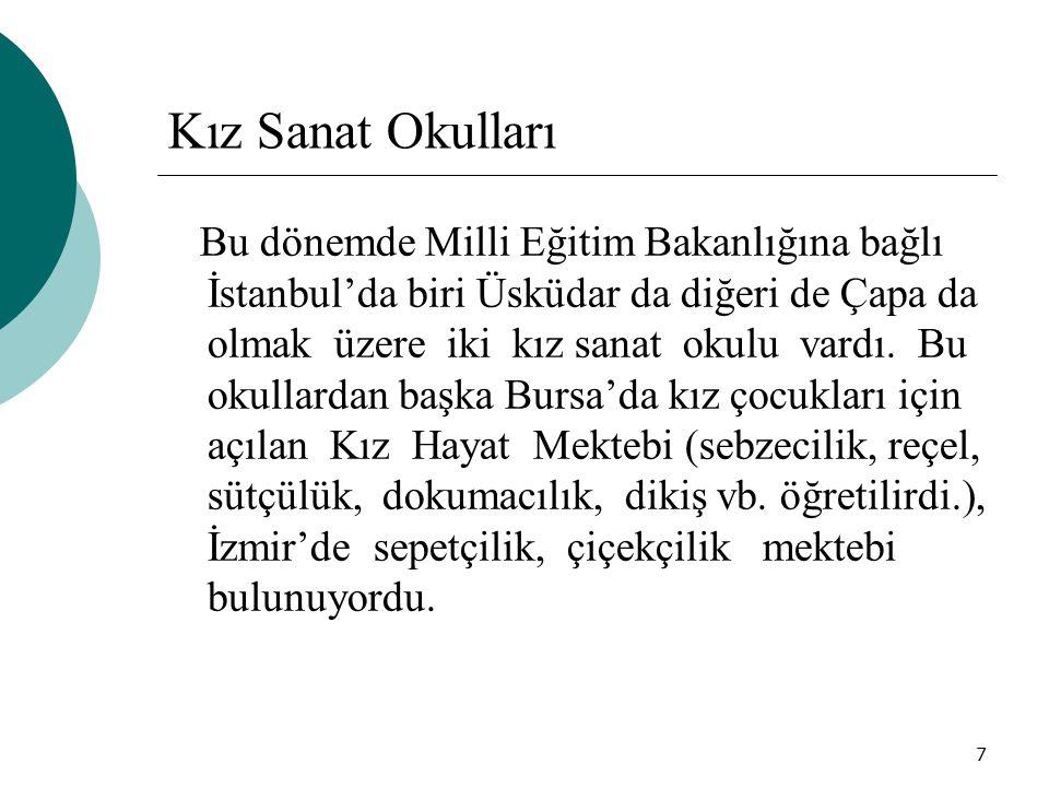 7 Kız Sanat Okulları Bu dönemde Milli Eğitim Bakanlığına bağlı İstanbul'da biri Üsküdar da diğeri de Çapa da olmak üzere iki kız sanat okulu vardı. Bu