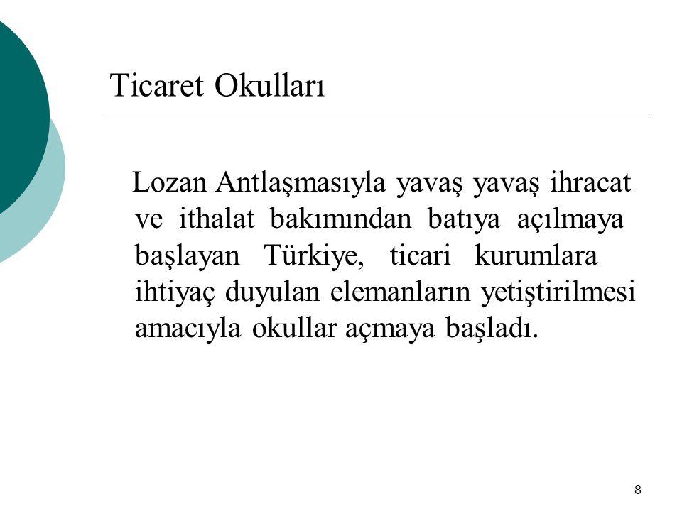 8 Ticaret Okulları Lozan Antlaşmasıyla yavaş yavaş ihracat ve ithalat bakımından batıya açılmaya başlayan Türkiye, ticari kurumlara ihtiyaç duyulan el