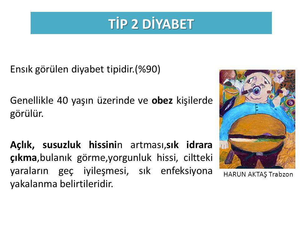 TİP 2 DİYABET Ensık görülen diyabet tipidir.(%90) Genellikle 40 yaşın üzerinde ve obez kişilerde görülür. Açlık, susuzluk hissinin artması,sık idrara