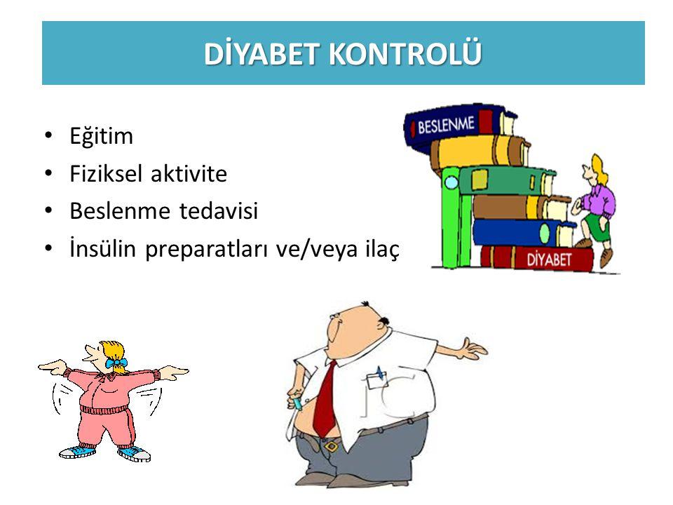 Eğitim Fiziksel aktivite Beslenme tedavisi İnsülin preparatları ve/veya ilaç DİYABET KONTROLÜ