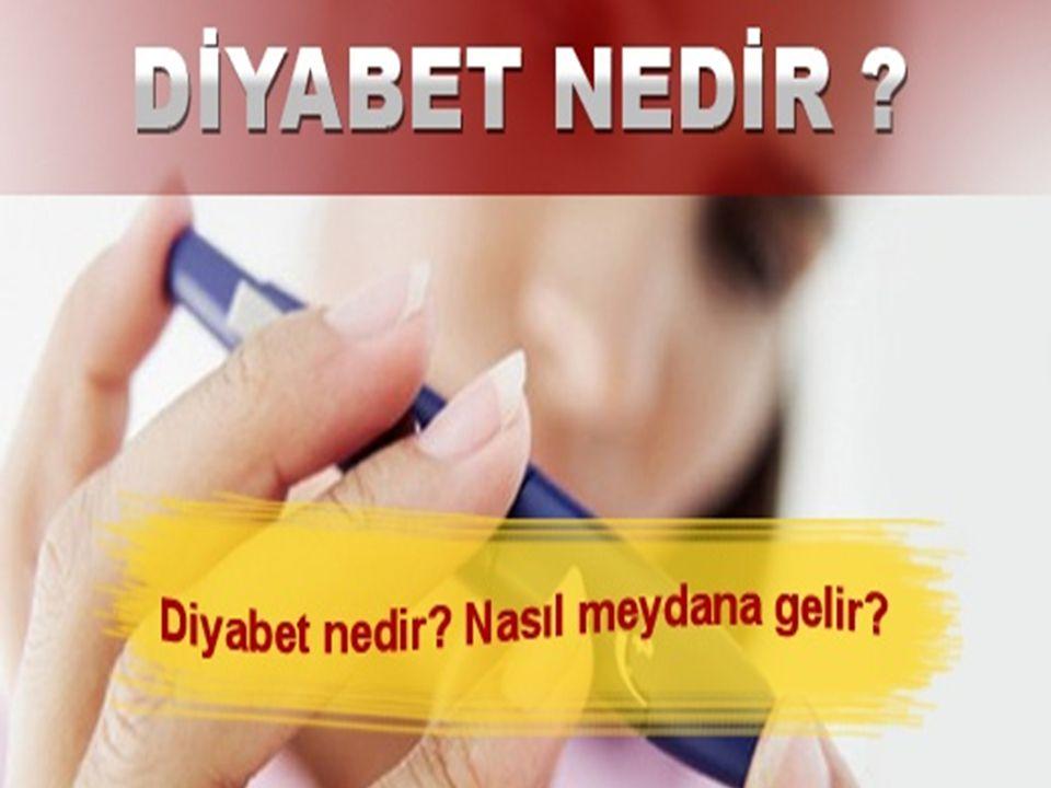DİYABETTE İDEAL HEDEFLER HbA1C < % 6.5 AKŞ <120 mg/dl TKŞ <140 mg/dl KAN BASINCI <130/80 mm/Hg LDL <100 mg/dl HDL >50 mg/dl Trigliserit <150 mg/dl Kolestrol <200 mg/dl