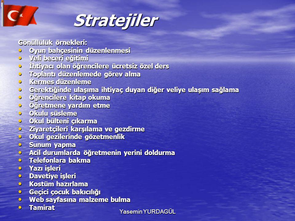 Yasemin YURDAGÜL Stratejiler Stratejiler Gönüllülük örnekleri: Oyun bahçesinin düzenlenmesi Oyun bahçesinin düzenlenmesi Veli beceri eğitimi Veli bece