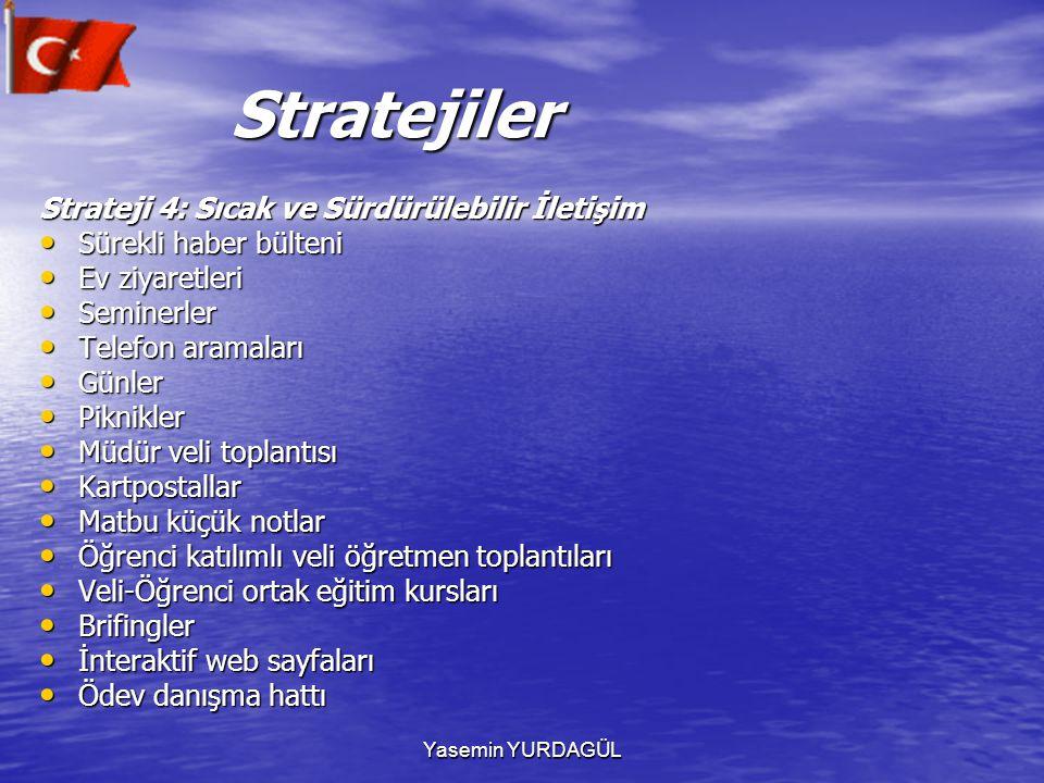 Yasemin YURDAGÜL Stratejiler Stratejiler Strateji 4: Sıcak ve Sürdürülebilir İletişim Sürekli haber bülteni Sürekli haber bülteni Ev ziyaretleri Ev zi
