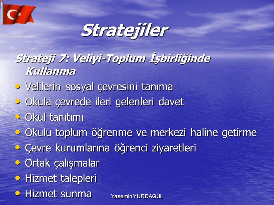 Yasemin YURDAGÜL Stratejiler Stratejiler Strateji 7: Veliyi-Toplum İşbirliğinde Kullanma Velilerin sosyal çevresini tanıma Velilerin sosyal çevresini