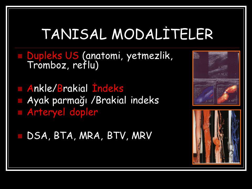 TANISAL MODALİTELER Dupleks US (anatomi, yetmezlik, Tromboz, reflu) Ankle/Brakial İndeks Ayak parmağı /Brakial indeks Arteryel dopler DSA, BTA, MRA, BTV, MRV