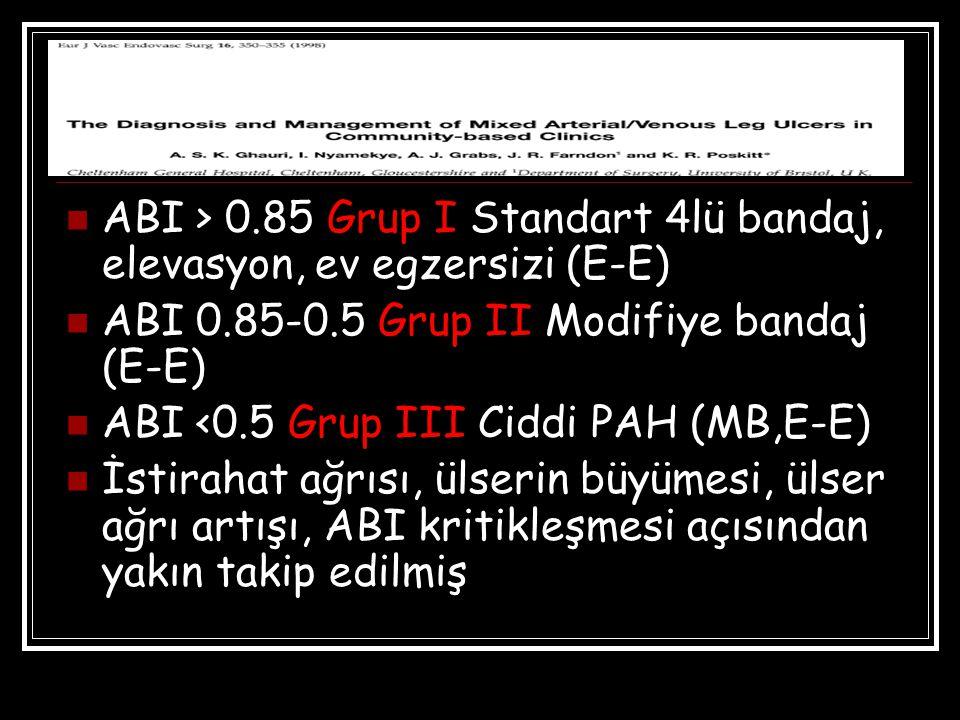 ABI > 0.85 Grup I Standart 4lü bandaj, elevasyon, ev egzersizi (E-E) ABI 0.85-0.5 Grup II Modifiye bandaj (E-E) ABI <0.5 Grup III Ciddi PAH (MB,E-E) İstirahat ağrısı, ülserin büyümesi, ülser ağrı artışı, ABI kritikleşmesi açısından yakın takip edilmiş