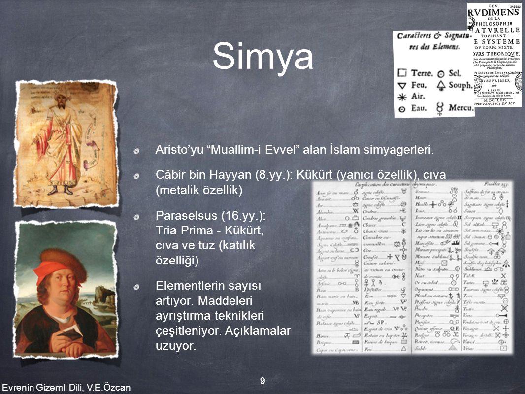"""Evrenin Gizemli Dili, V.E.Özcan 9 Simya Aristo'yu """"Muallim-i Evvel"""" alan İslam simyagerleri. Câbir bin Hayyan (8.yy.): Kükürt (yanıcı özellik), cıva ("""