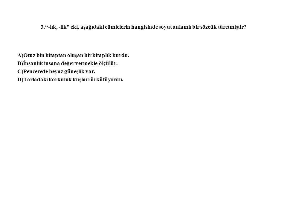 3. -lık, -lik eki, aşağıdaki cümlelerin hangisinde soyut anlamlı bir sözcük türetmiştir.