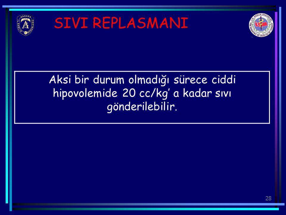 28 SIVI REPLASMANI Aksi bir durum olmadığı sürece ciddi hipovolemide 20 cc/kg' a kadar sıvı gönderilebilir.