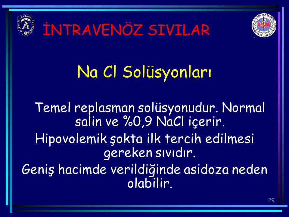 29 İNTRAVENÖZ SIVILAR Na Cl Solüsyonları Temel replasman solüsyonudur. Normal salin ve %0,9 NaCl içerir. Hipovolemik şokta ilk tercih edilmesi gereken