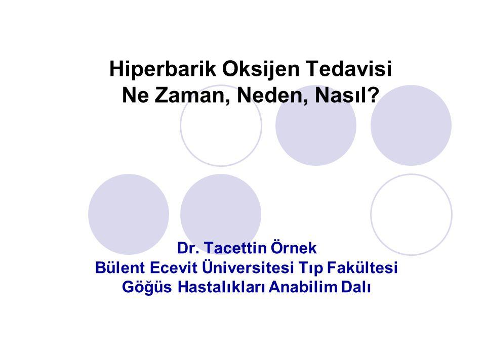 Dr. Tacettin Örnek Bülent Ecevit Üniversitesi Tıp Fakültesi Göğüs Hastalıkları Anabilim Dalı Hiperbarik Oksijen Tedavisi Ne Zaman, Neden, Nasıl?