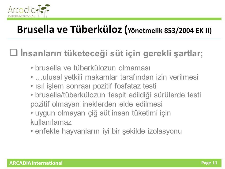 ARCADIA International Page 11 Brusella ve Tüberküloz ( Yönetmelik 853/2004 EK II)  İnsanların tüketeceği süt için gerekli şartlar; brusella ve tüberkülozun olmaması …ulusal yetkili makamlar tarafından izin verilmesi ısıl işlem sonrası pozitif fosfataz testi brusella/tüberkülozun tespit edildiği sürülerde testi pozitif olmayan ineklerden elde edilmesi uygun olmayan çiğ süt insan tüketimi için kullanılamaz enfekte hayvanların iyi bir şekilde izolasyonu
