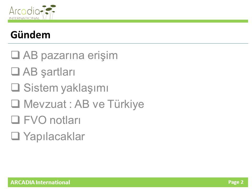 ARCADIA International Page 2 Gündem  AB pazarına erişim  AB şartları  Sistem yaklaşımı  Mevzuat : AB ve Türkiye  FVO notları  Yapılacaklar