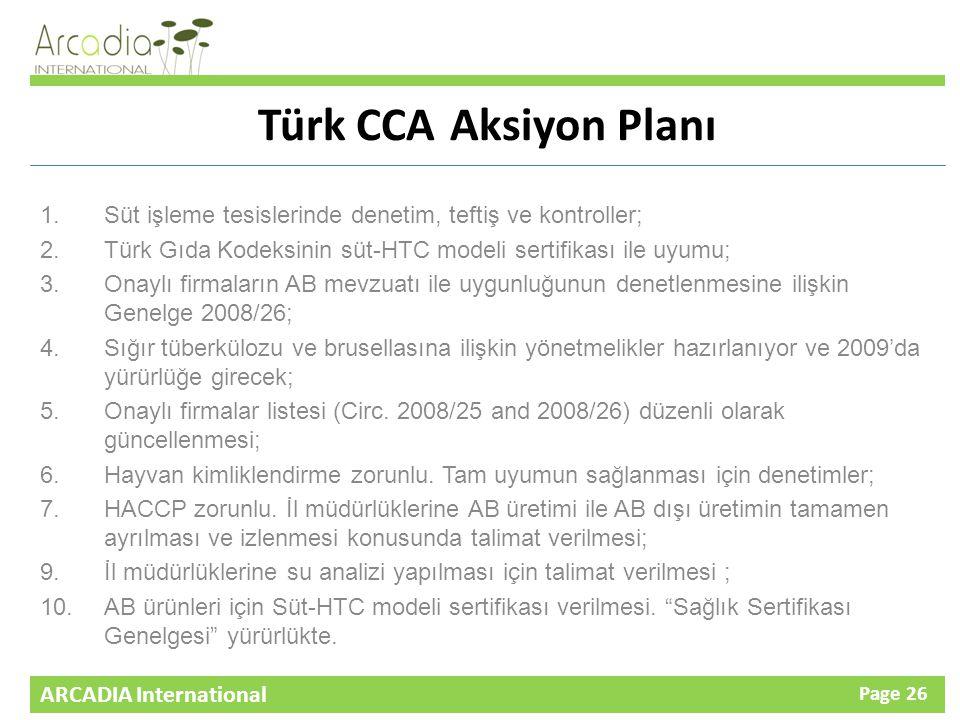 ARCADIA International Page 26 Türk CCAAksiyon Planı 1.Süt işleme tesislerinde denetim, teftiş ve kontroller; 2.Türk Gıda Kodeksinin süt-HTC modeli sertifikası ile uyumu; 3.Onaylı firmaların AB mevzuatı ile uygunluğunun denetlenmesine ilişkin Genelge 2008/26; 4.Sığır tüberkülozu ve brusellasına ilişkin yönetmelikler hazırlanıyor ve 2009'da yürürlüğe girecek; 5.