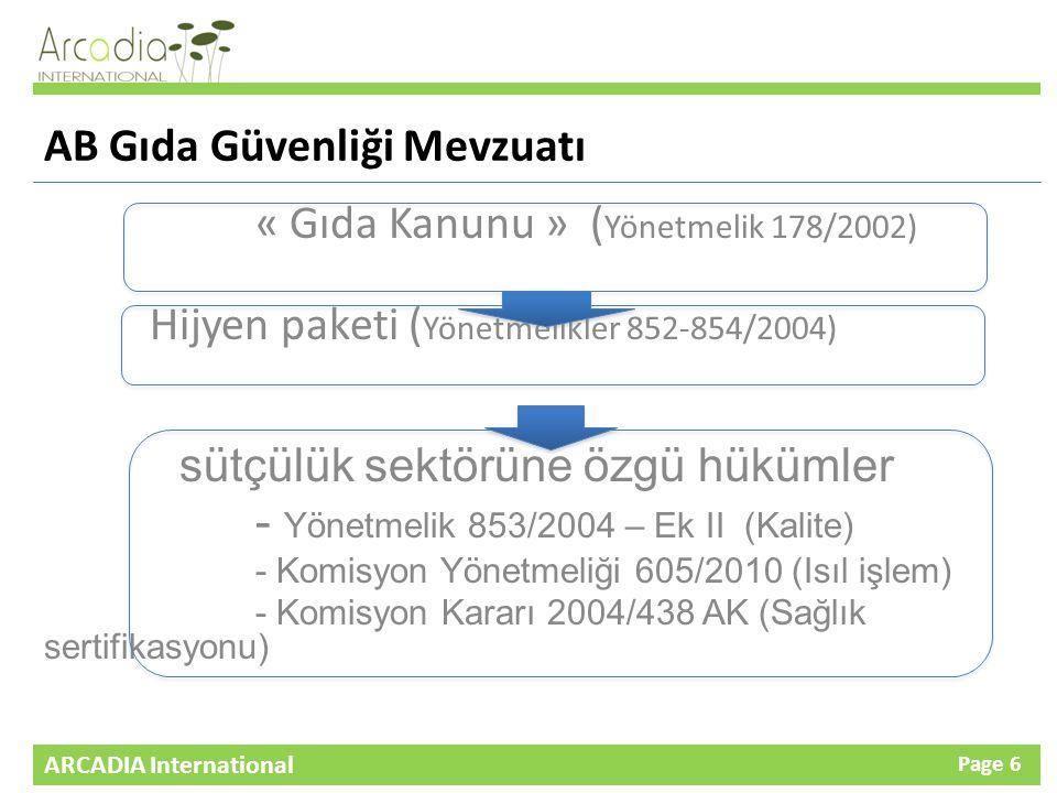 ARCADIA International Page 6 AB Gıda Güvenliği Mevzuatı « Gıda Kanunu » ( Yönetmelik 178/2002) Hijyen paketi ( Yönetmelikler 852-854/2004) sütçülük sektörüne özgü hükümler - Yönetmelik 853/2004 – Ek II (Kalite) - Komisyon Yönetmeliği 605/2010 (Isıl işlem) - Komisyon Kararı 2004/438 AK (Sağlık sertifikasyonu)