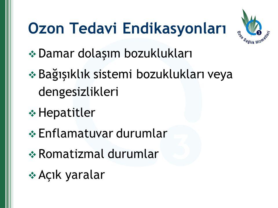 Ozon Tedavi Endikasyonları  Damar dolaşım bozuklukları  Bağışıklık sistemi bozuklukları veya dengesizlikleri  Hepatitler  Enflamatuvar durumlar 