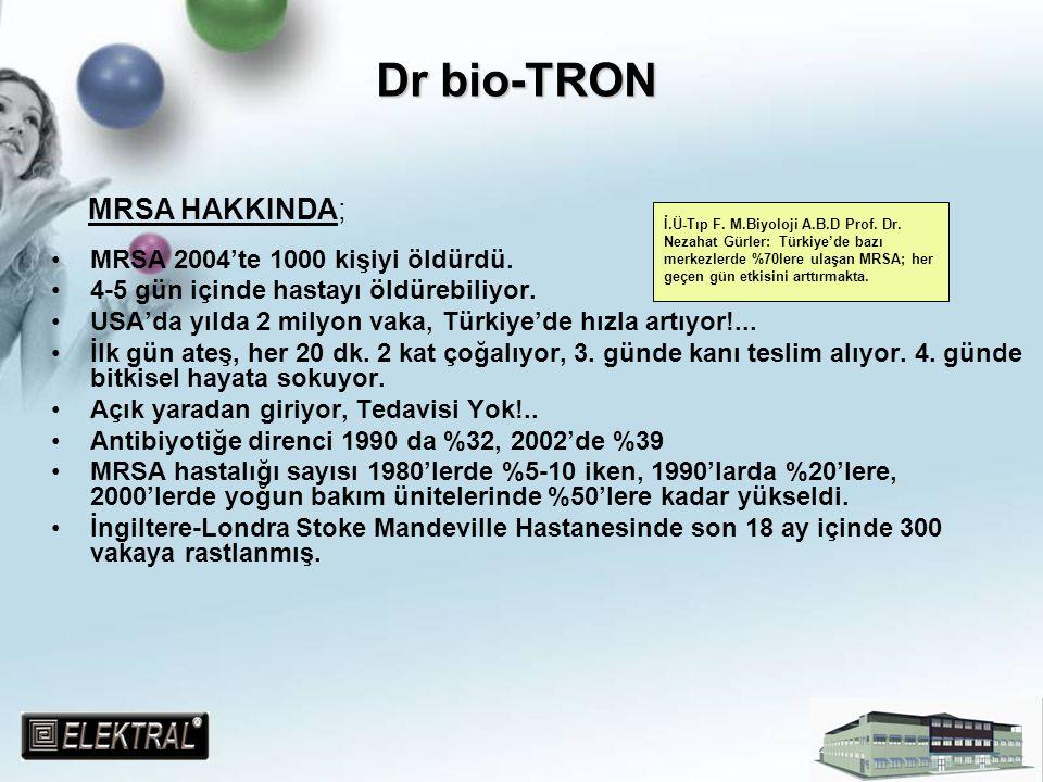 Dr bio-TRON MRSA HAKKINDA; MRSA 2004'te 1000 kişiyi öldürdü. 4-5 gün içinde hastayı öldürebiliyor. USA'da yılda 2 milyon vaka, Türkiye'de hızla artıyo