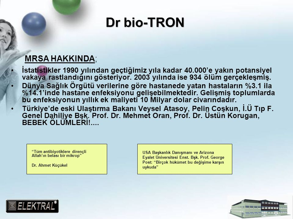 Dr bio-TRON Yaşanılanlar karşılaşılan durumlar çok vahimdir.İnsanlık günümüzde bir çok hastalığın tehtidindeyken;gelecekte bu tehlikeler artacak daha fazla ölümler gerçekleşecektir.Şimdiden önlem alınmalıdır.Bu denli tehlikeli bir mikrobun göz ardı edilmesi düşünülemez;DÜŞÜNÜLMEMELİDİR.