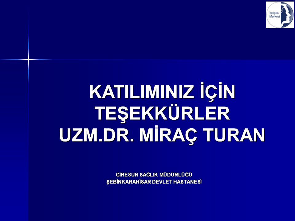 KATILIMINIZ İÇİN TEŞEKKÜRLER UZM.DR.