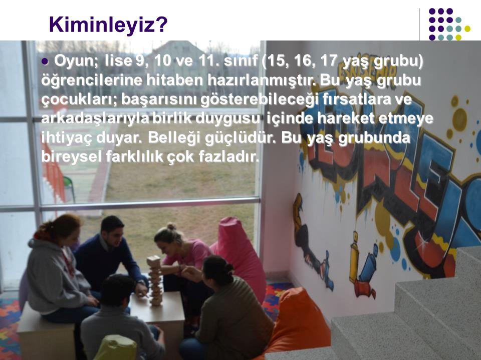 Oyun; lise 9, 10 ve 11. sınıf (15, 16, 17 yaş grubu) öğrencilerine hitaben hazırlanmıştır. Bu yaş grubu çocukları; başarısını gösterebileceği fırsatla