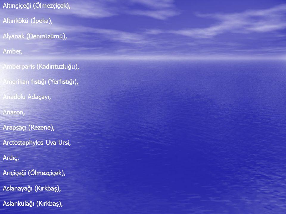 Altınçiçeği (Ölmezçiçek), Altınkökü (İpeka), Alyanak (Denizüzümü), Amber, Amberparis (Kadıntuzluğu), Amerikan fıstığı (Yerfıstığı), Anadolu Adaçayı, Anason, Arapsaçı (Rezene), Arctostaphylos Uva Ursi, Ardıç, Arıçiçeği (Ölmezçiçek), Aslanayağı (Kırkbaş), Aslankulağı (Kırkbaş),