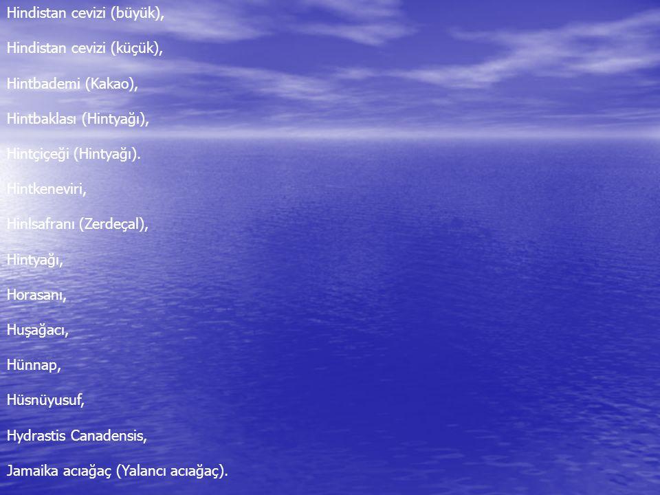 Ihlamur, 131 Irziyan (Rezene), 239 Isırganotu, 133 Işgın (Ravent), 238 İncir, 134 İnciçıçeği (Müge), 212 İnsanotu (Adamotu), 26 İpeka, 135 itüzümü (Köpeküzümü), 181 İzlanda Likeni, 136 itboğan (Çiğdem), 77 Kabak, 137 Kabakulakotu (Loğusaotu), 196 Kadimağacı (Porsukağacı), 235