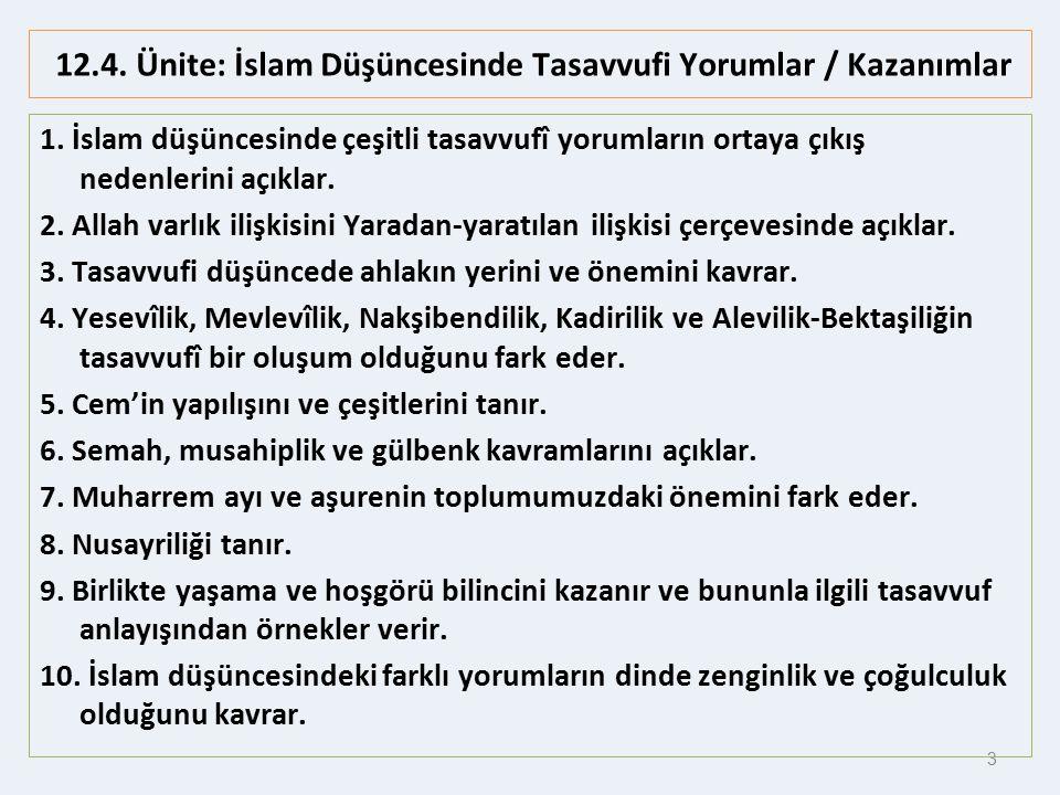 3 12.4.Ünite: İslam Düşüncesinde Tasavvufi Yorumlar / Kazanımlar 1.