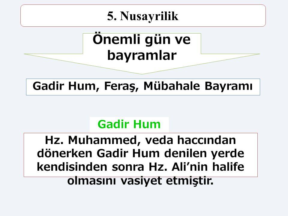 65 5. Nusayrilik Dinin temeli Kur'an ve Sünnettir. Hz. Ali ve Ehli Beyt sevgisi ön planda olmalıdır. Hz. Muhammed'den sonra Hz. Ali halife olmalıydı.