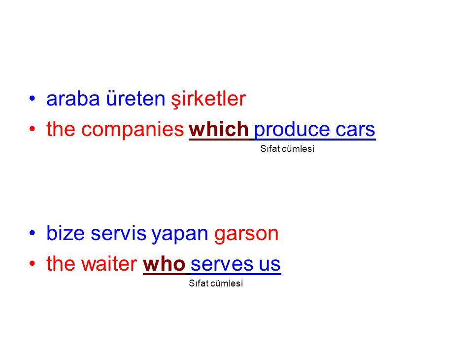 araba üreten şirketler the companies which produce cars Sıfat cümlesi bize servis yapan garson the waiter who serves us Sıfat cümlesi