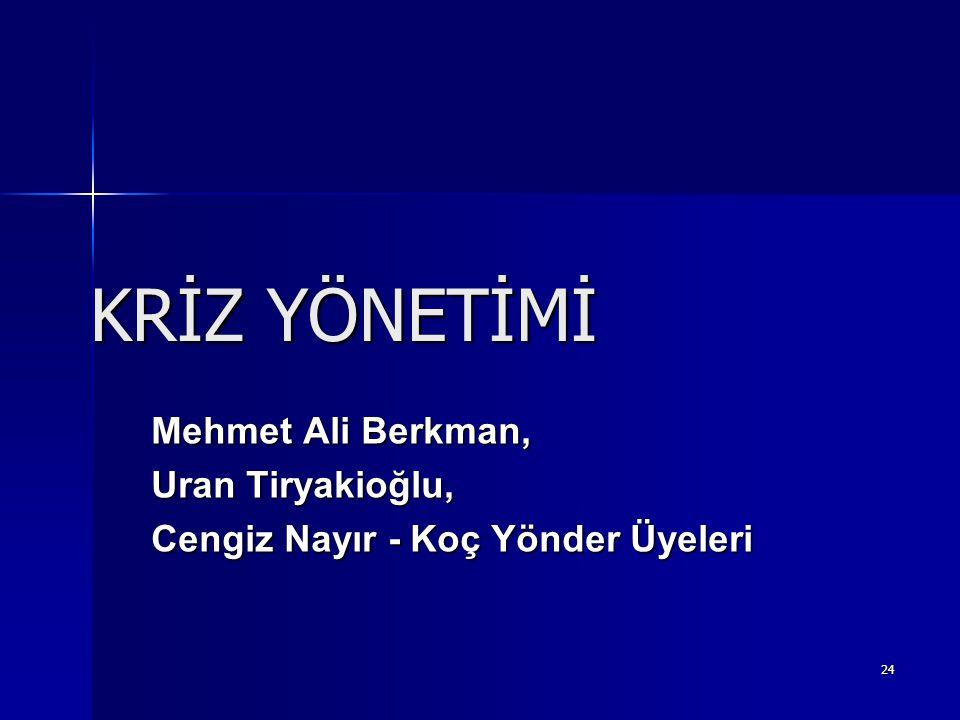 24 KRİZ YÖNETİMİ Mehmet Ali Berkman, Uran Tiryakioğlu, Cengiz Nayır - Koç Yönder Üyeleri