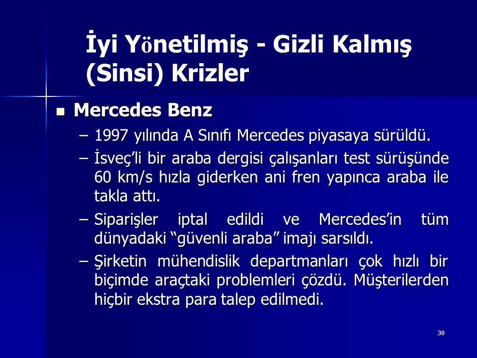 30 Mercedes Benz Mercedes Benz –1997 yılında A Sınıfı Mercedes piyasaya sürüldü. –İsveç'li bir araba dergisi çalışanları test sürüşünde 60 km/s hızla
