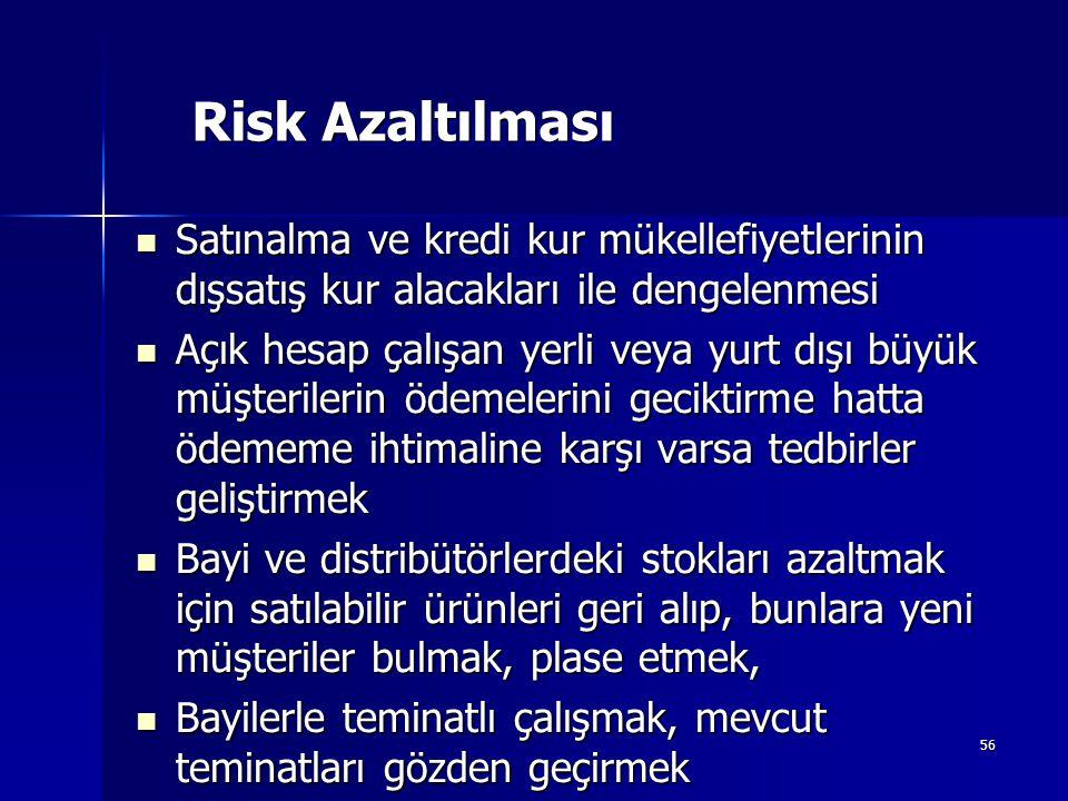 56 Risk Azaltılması Satınalma ve kredi kur mükellefiyetlerinin dışsatış kur alacakları ile dengelenmesi Satınalma ve kredi kur mükellefiyetlerinin dış