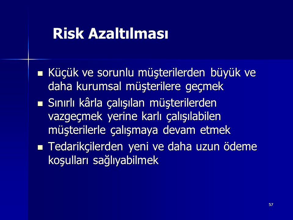 57 Risk Azaltılması Küçük ve sorunlu müşterilerden büyük ve daha kurumsal müşterilere geçmek Küçük ve sorunlu müşterilerden büyük ve daha kurumsal müş