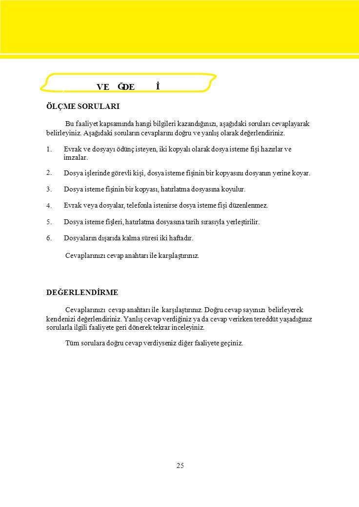 1. 2. 3. 4. 5. 6. Evrak ve dosyayı ödünç isteyen, iki kopyalı olarak dosya isteme fişi hazırlar ve imzalar. Dosya işlerinde görevli kişi, dosya isteme