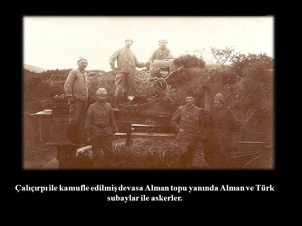 Çalıçırpı ile kamufle edilmiş devasa Alman topu yanında Alman ve Türk subaylar ile askerler.