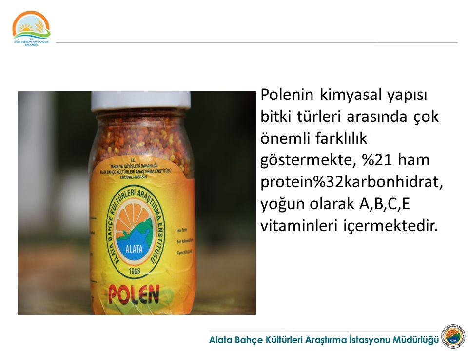 Polenin kimyasal yapısı bitki türleri arasında çok önemli farklılık göstermekte, %21 ham protein%32karbonhidrat, yoğun olarak A,B,C,E vitaminleri içer