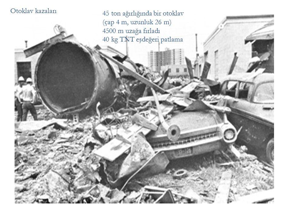 Otoklav kazaları 45 ton ağırlığında bir otoklav (çap 4 m, uzunluk 26 m) 4500 m uzağa fırladı 40 kg TNT eşdeğeri patlama