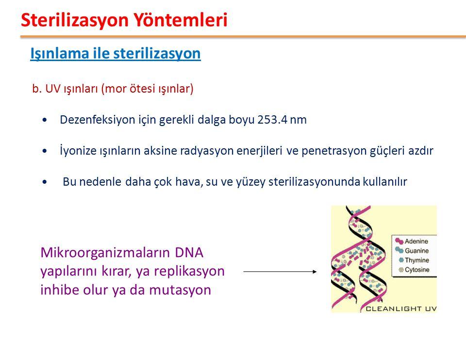 Işınlama ile sterilizasyon Sterilizasyon Yöntemleri b. UV ışınları (mor ötesi ışınlar) Dezenfeksiyon için gerekli dalga boyu 253.4 nm İyonize ışınları