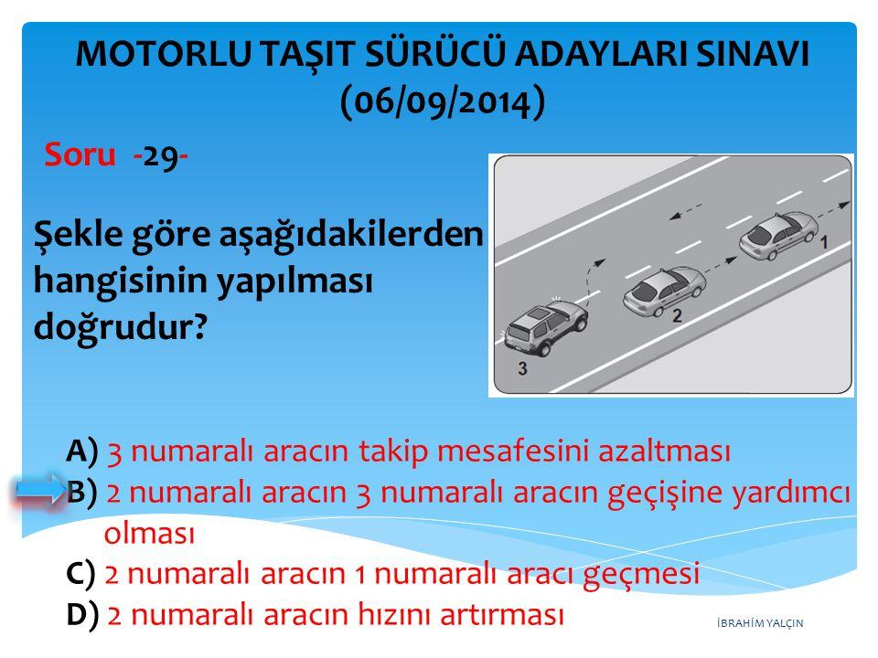 İBRAHİM YALÇIN A) 3 numaralı aracın takip mesafesini azaltması B) 2 numaralı aracın 3 numaralı aracın geçişine yardımcı olması C) 2 numaralı aracın 1