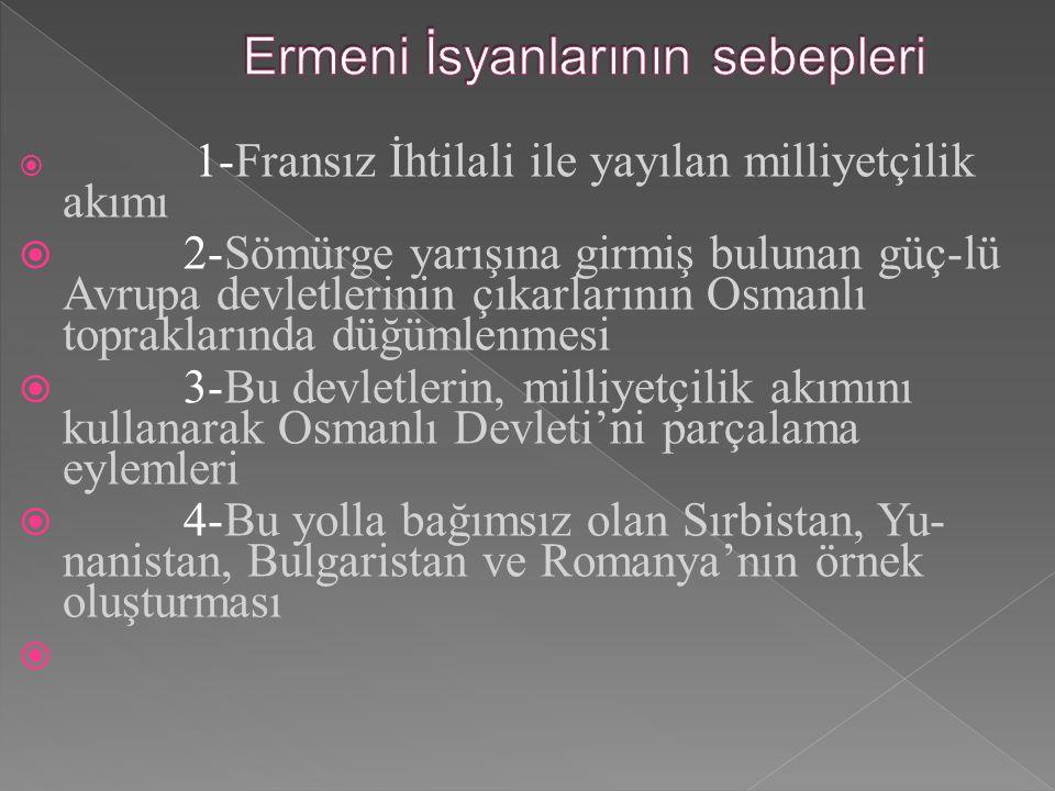  1-Fransız İhtilali ile yayılan milliyetçilik akımı  2-Sömürge yarışına girmiş bulunan güç-lü Avrupa devletlerinin çıkarlarının Osmanlı topraklarında düğümlenmesi  3-Bu devletlerin, milliyetçilik akımını kullanarak Osmanlı Devleti'ni parçalama eylemleri  4-Bu yolla bağımsız olan Sırbistan, Yu- nanistan, Bulgaristan ve Romanya'nın örnek oluşturması 
