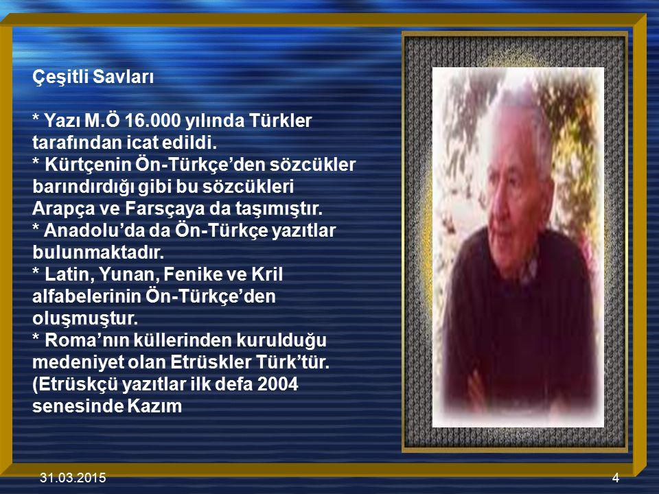 31.03.20155 Mir şan tarafından çö z ü mlenmiştir.) * Etrüskçü Türkçedir * Skandinavya ve Avrupa ' da 5000 ′den fazla Türkçe yazıt bulunmaktadır.