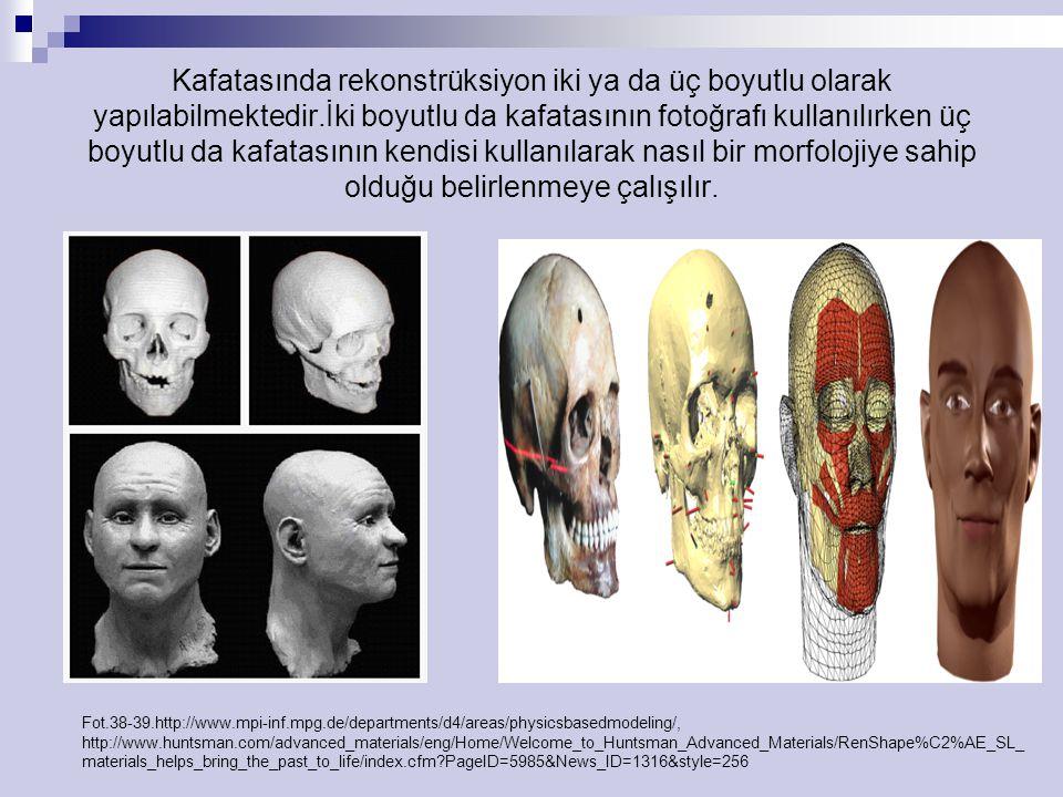 Kafatasında rekonstrüksiyon iki ya da üç boyutlu olarak yapılabilmektedir.İki boyutlu da kafatasının fotoğrafı kullanılırken üç boyutlu da kafatasının kendisi kullanılarak nasıl bir morfolojiye sahip olduğu belirlenmeye çalışılır.