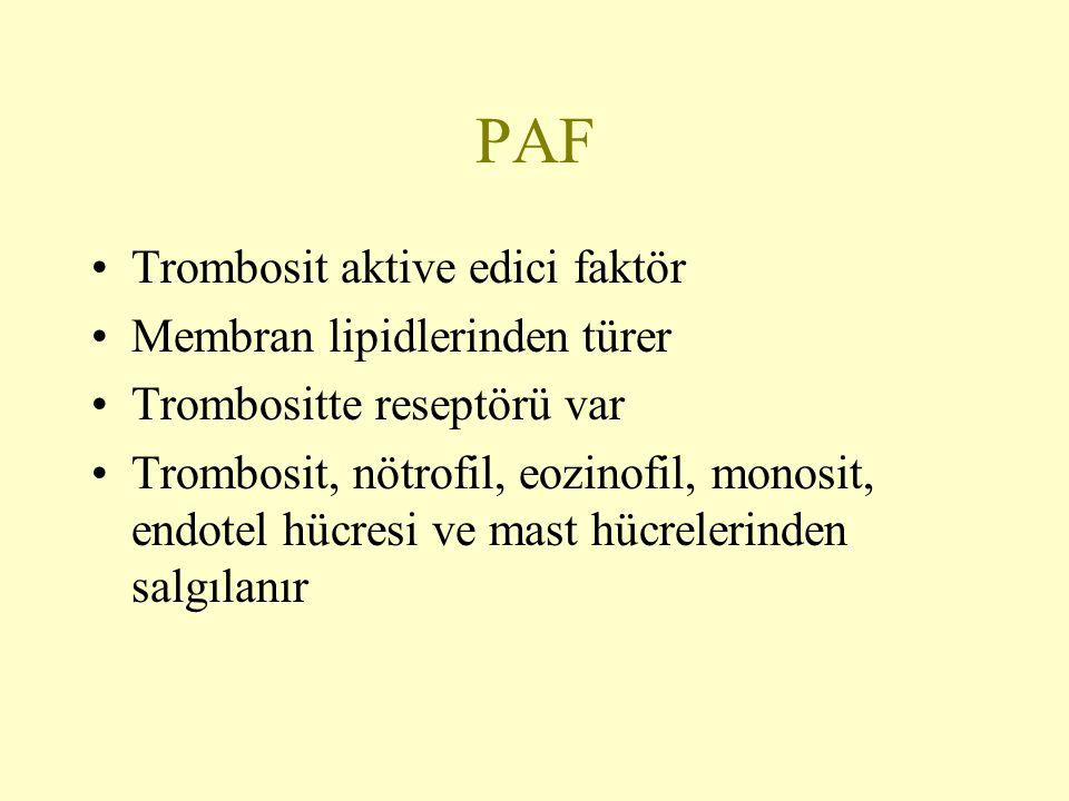 PAF Trombosit aktive edici faktör Membran lipidlerinden türer Trombositte reseptörü var Trombosit, nötrofil, eozinofil, monosit, endotel hücresi ve ma